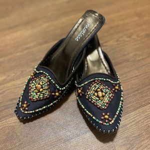 Matisse Mules Beaded Heels Shoes Black Slip on